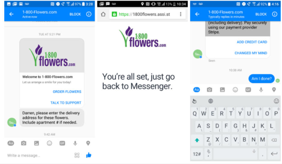 the 1800flowers chatbot in Facebook messenger