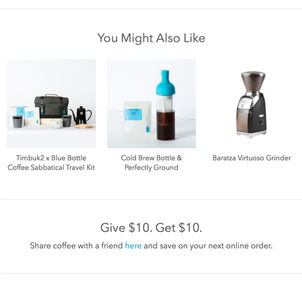 A fragment of a newsletter from Blue Bottle Coffee with a referral program